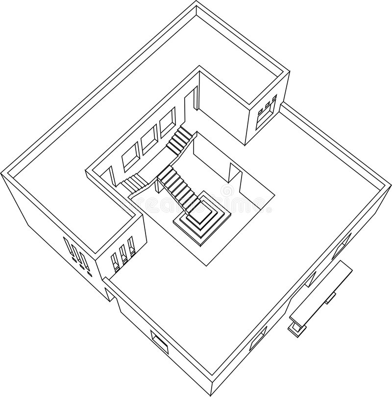 Haus-Perspektive 8 lizenzfreie abbildung