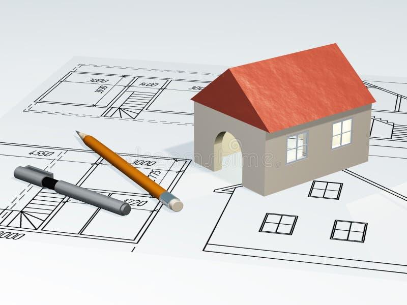 Haus am Plan vektor abbildung