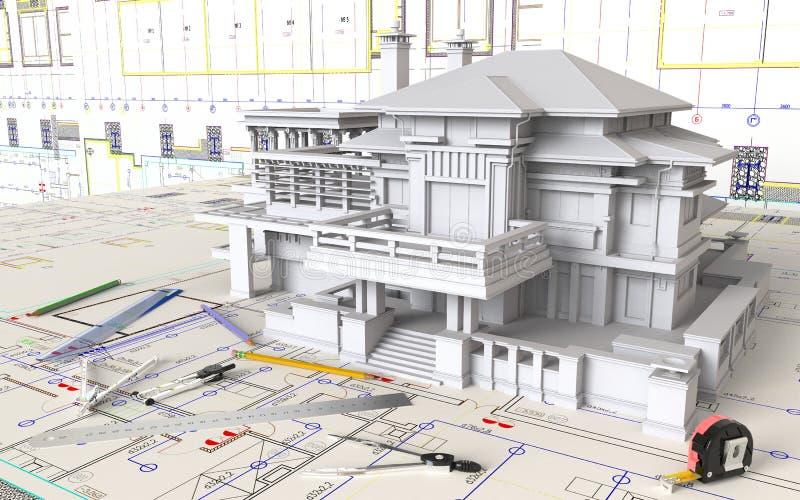 Haus-Plan und Architekturzeichnungen lizenzfreie stockbilder
