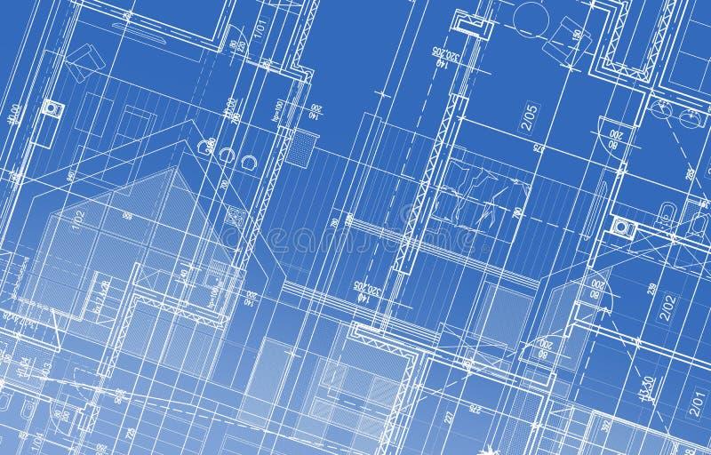 Haus-Projekt-Plan lizenzfreie abbildung