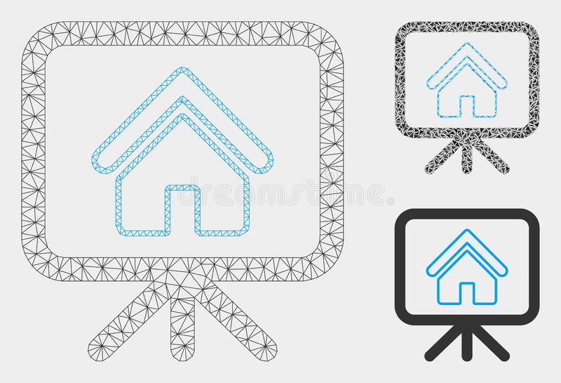 Haus-Projekt-Vektor Mesh Wire Frame Model und Dreieck-Mosaik-Ikone vektor abbildung