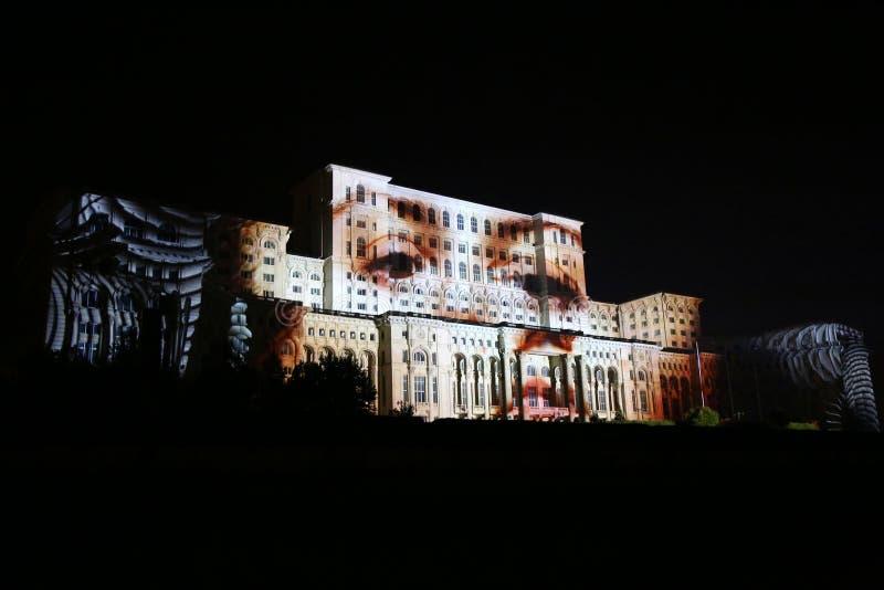 Haus- Projektion des Videos 3D des Parlaments stockfotografie