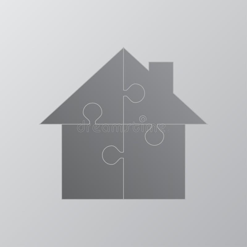 Haus-Puzzlespiel 4 Stücke Puzzlespiel-Mieten, mietend stock abbildung