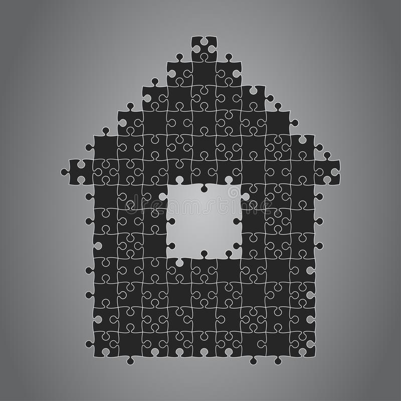 Haus-Puzzlespiel vier Stücke Fahnen-Mieten, mietend stock abbildung
