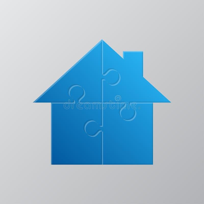 Haus-Puzzlespiel vier Stücke Laubsäge Verwirren Sie das Mieten stock abbildung