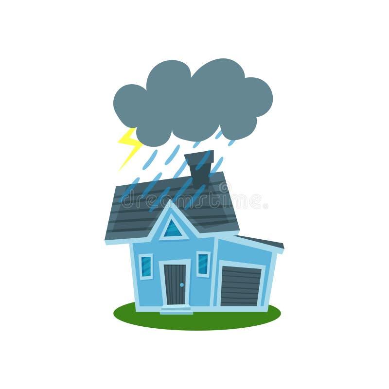 Haus schlug durch Blitz, Immobiliarversicherungsvektor Illustration lizenzfreie abbildung
