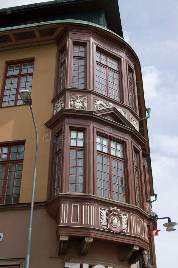 Haus Schweden-Kalmar auf der Ecke lizenzfreies stockbild