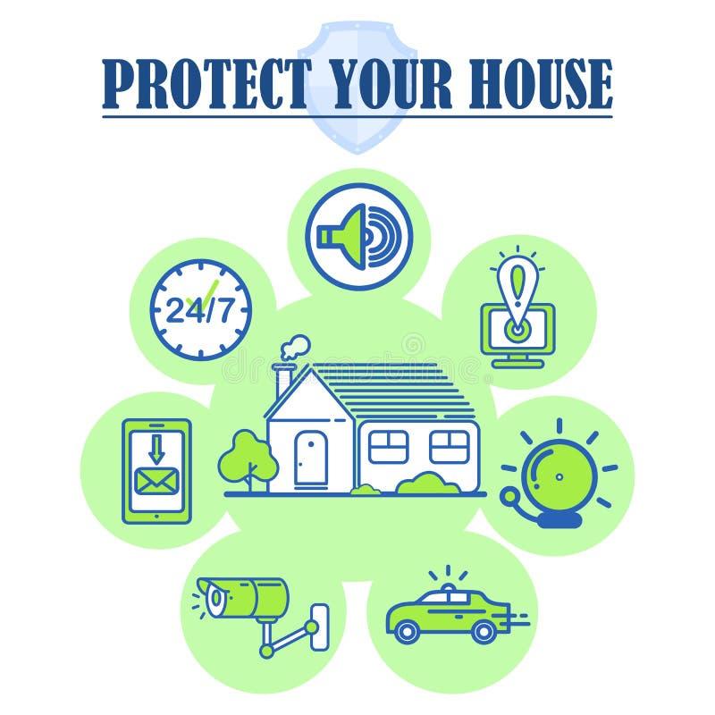 Haus-Sicherheitsdienst-lineare Ikonen der hohen Qualität stock abbildung