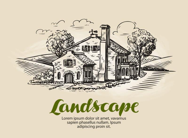 Haus, Sommerhäuschenskizze Weinlesebauernhof, ländliche Landschaftsvektorillustration stock abbildung