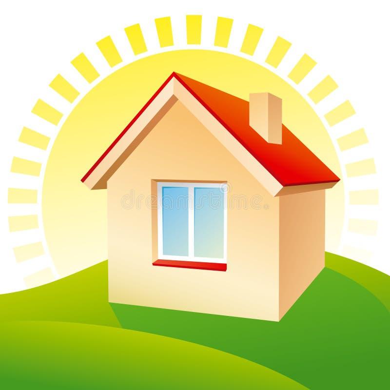 Haus am Sonnenaufgang lizenzfreie abbildung