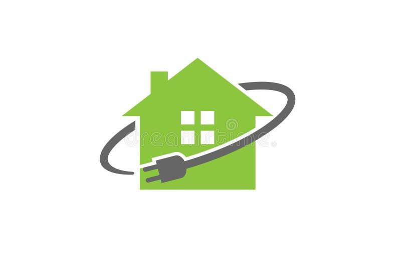 Haus-Stecker-Stromkabelsymbollogo-Designillustration stock abbildung
