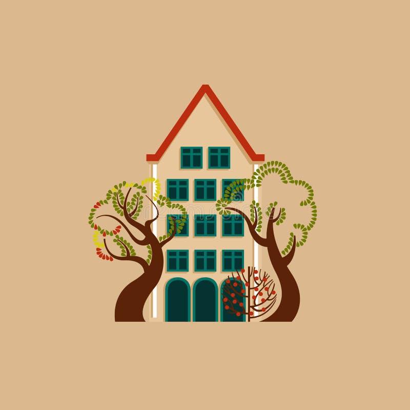 Haus am Tag mit einem glühenden Fenster unter Bäumen und Büschen Autumn European-Landschaftsumwelt vektor abbildung