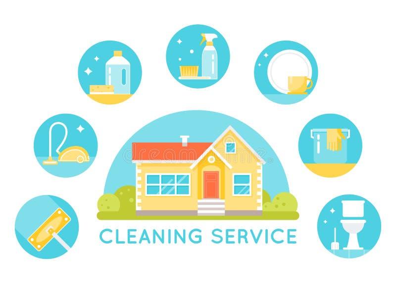 Haus umgeben durch das Säubern von Service-Bildern Haushalts-Reinigungsmittel-und Werkzeug-runde Ikonen lizenzfreie abbildung