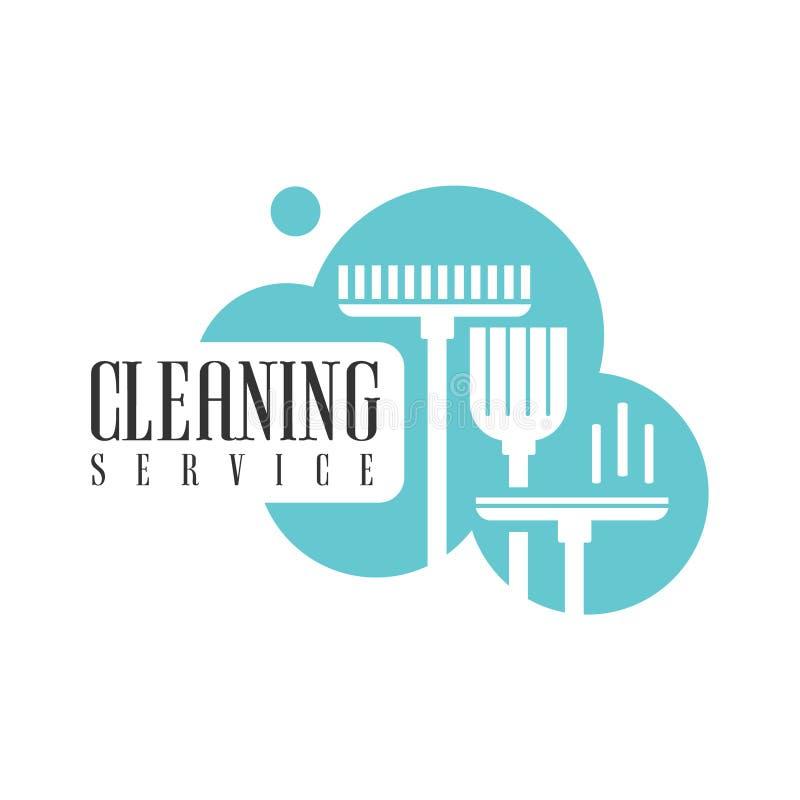 Haus-und Büro-Reinigungs-Service-Miet-Logo Template With Broom And-Mopp für Berufsreiniger-Hilfe für lizenzfreie abbildung