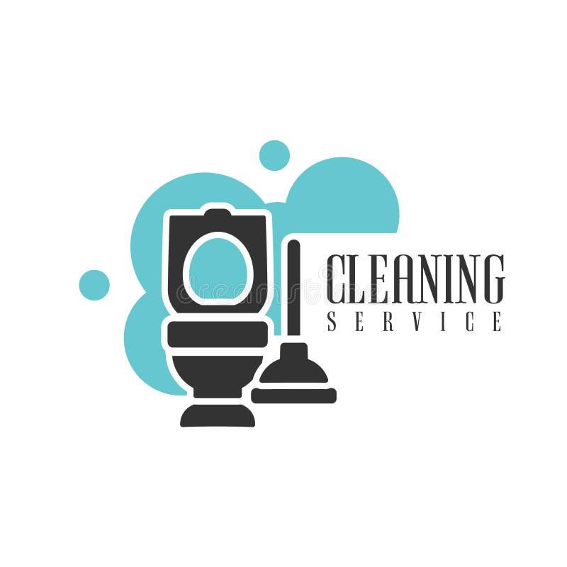 Haus-und Büro-Reinigungs-Service-Miet-Logo Template With Toilet And-Kolben für Berufsreiniger-Hilfe für stock abbildung