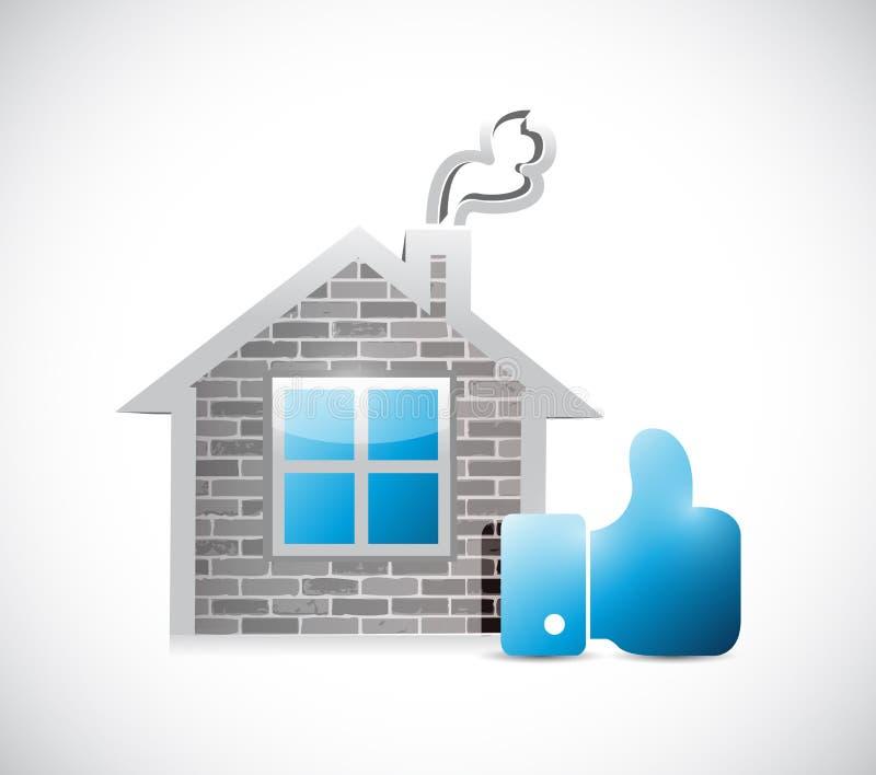 Haus und Daumen herauf Zeichenillustrationsdesign stock abbildung