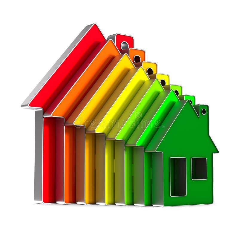Haus und Energieeinsparung auf weißem Hintergrund Lokalisiertes illustr 3d stock abbildung
