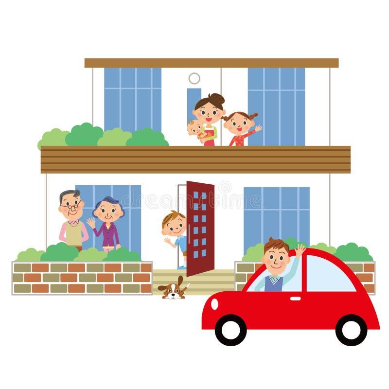 Haus und Familie lizenzfreie abbildung