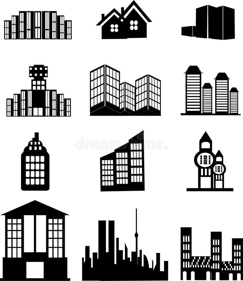 Haus- und Gebäudeikonen lizenzfreie abbildung