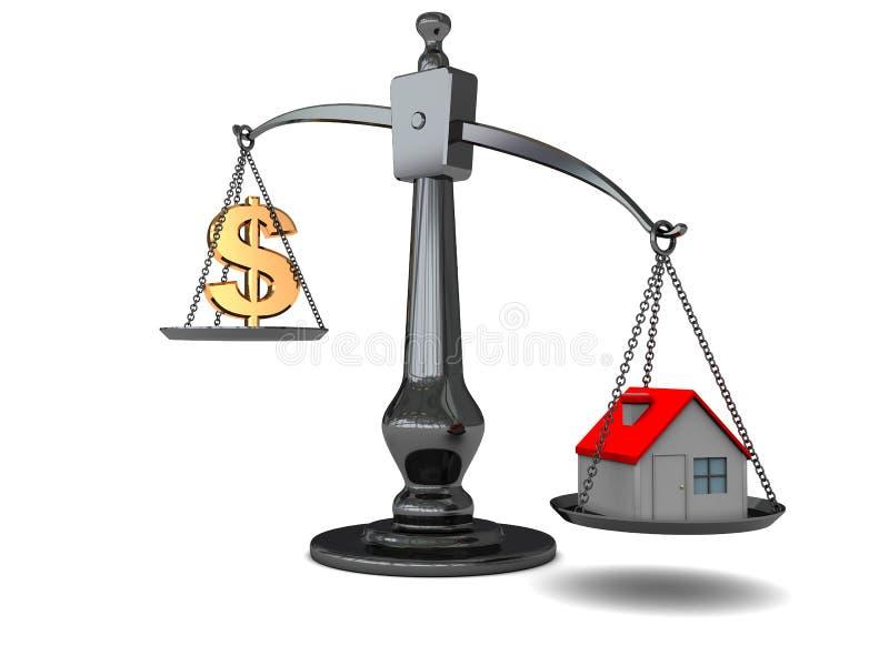 Haus und Geld auf Skala stock abbildung