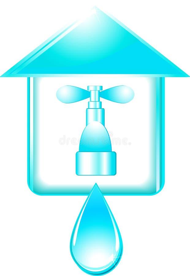 Haus und Hahn mit Tropfen des Wassers stock abbildung
