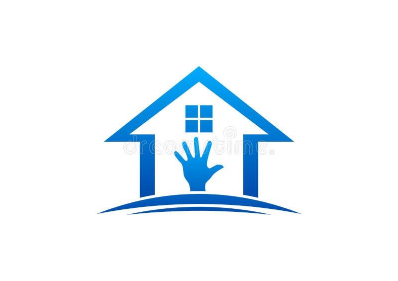 Haus und Handlogo-, -Hausaufgaben-, -innen- und -außenhaus, Sorgfaltmöbel-Designvektor lizenzfreie abbildung