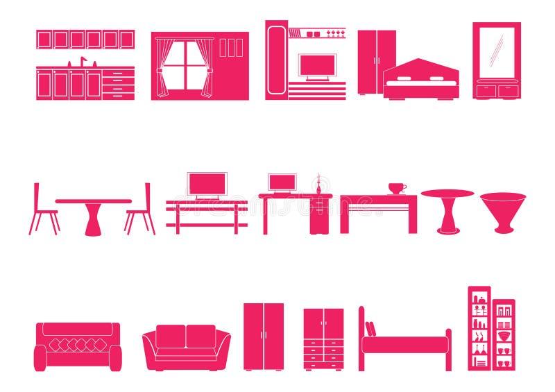Haus und Möbelikonen lizenzfreie abbildung