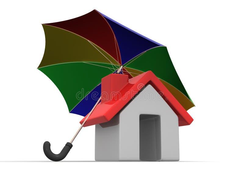 Haus und Regenschirm lizenzfreie abbildung