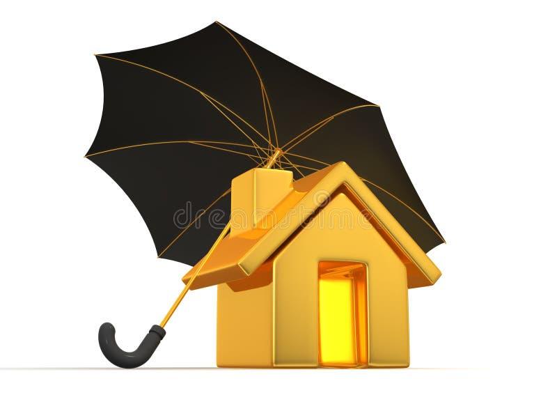 Haus und Regenschirm vektor abbildung