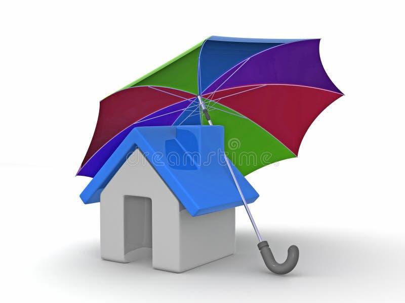 Haus und Regenschirm stock abbildung