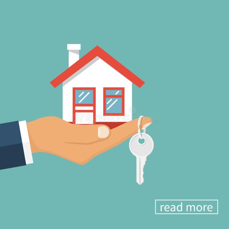 Haus und Schlüssel in der Hand vektor abbildung