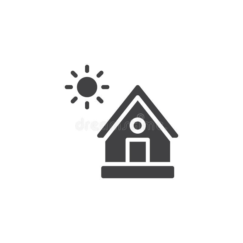 Haus- und Sonnenvektorikone stock abbildung