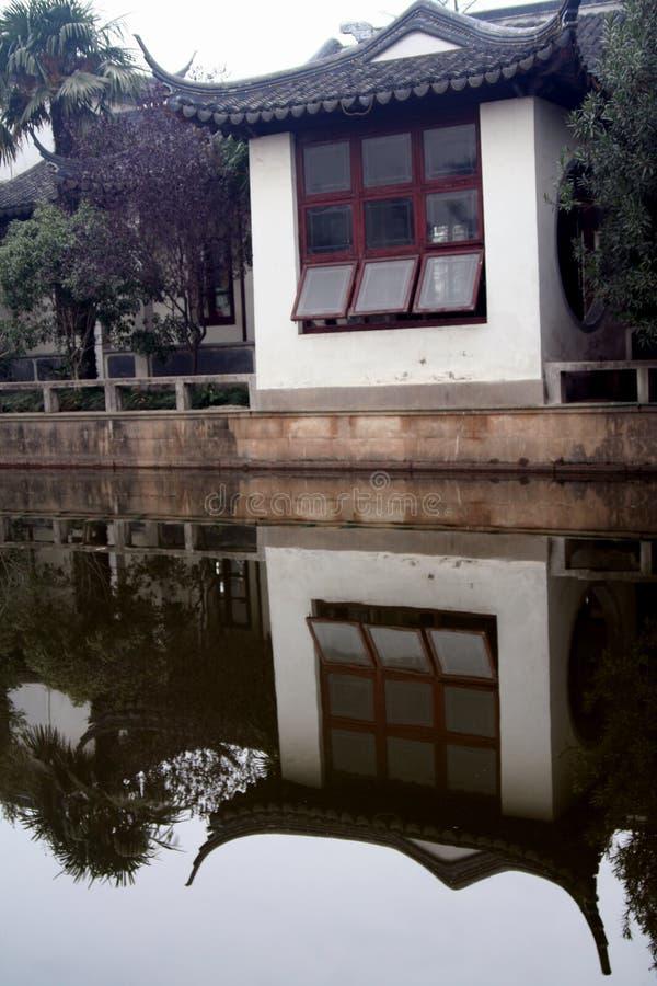 Haus und Teich in Shanghai lizenzfreie stockfotos