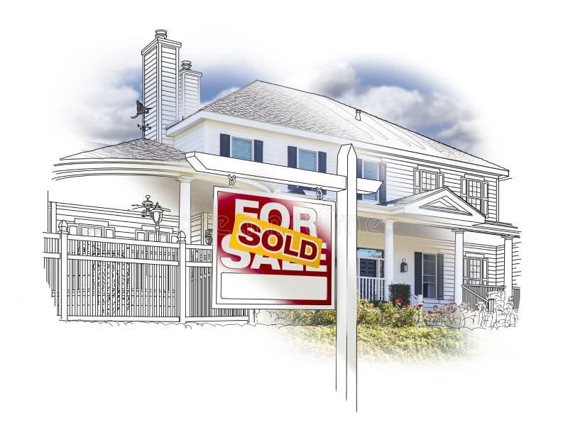 Haus und Verkaufszeichen-Zeichnung und Foto auf Weiß lizenzfreie abbildung