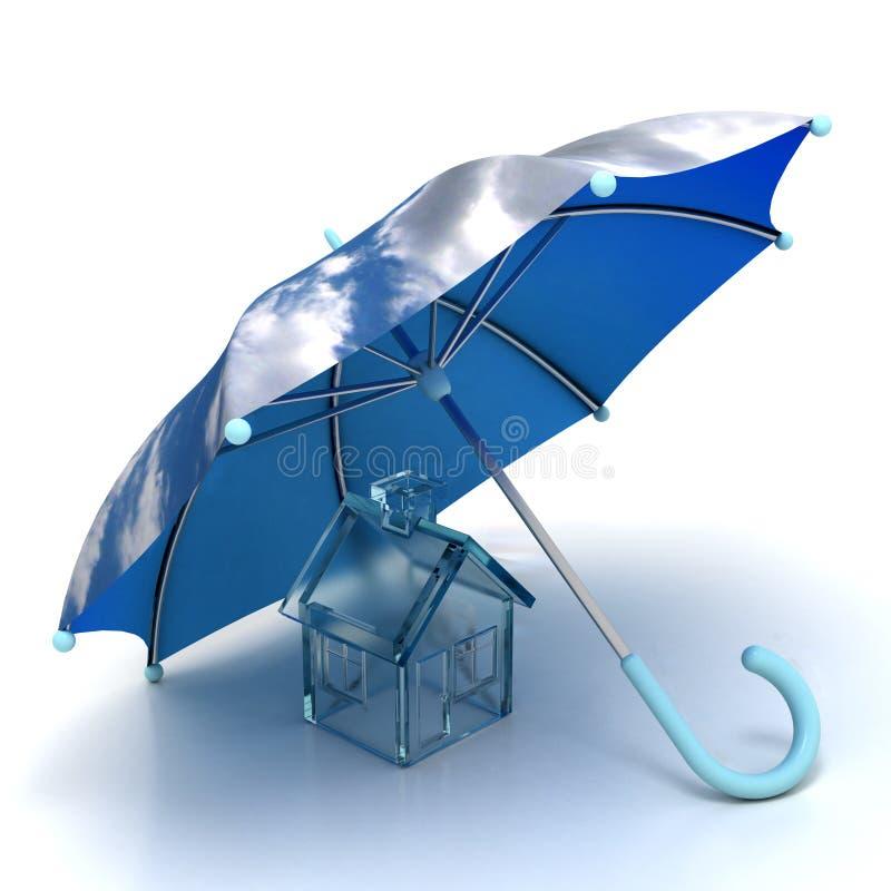Haus unter Regenschirm stock abbildung