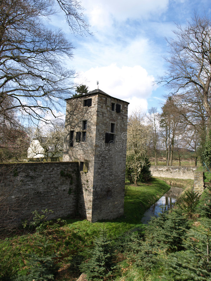 Haus Unterbach. A medieval german fortress in Dusseldorf royalty free stock photography