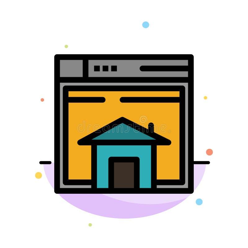 Haus, Verkauf, Netz, Plan, Seite, Website-Zusammenfassungs-flache Farbikonen-Schablone lizenzfreie abbildung