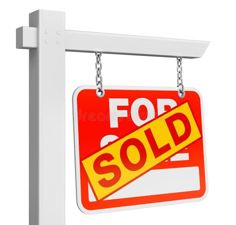 Haus verkaufte für das Immobilienzeichen des Verkaufs, das auf Weiß lokalisiert wurde stock abbildung