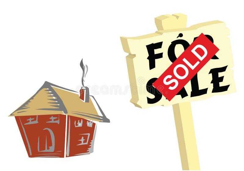 Haus verkaufte Zeichen stock abbildung