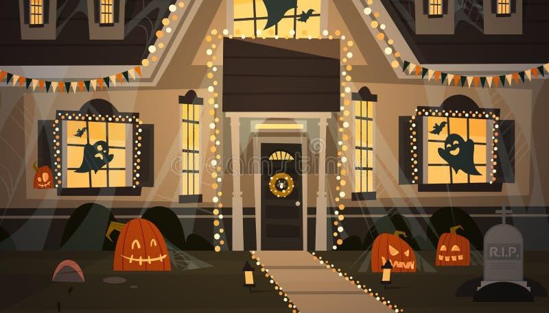 Haus verziert für Halloween-Wohnungsbau Front View With Different Pumpkins, Schläger-Feiertags-Feier-Konzept stock abbildung