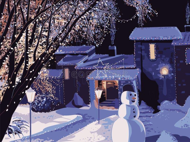 Haus verziert für Weihnachten vektor abbildung