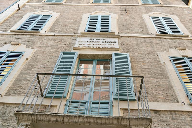 Haus von Gioacchino Rossini, Pesaro lizenzfreie stockfotografie