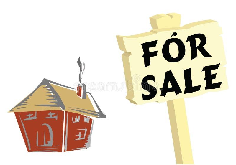 Haus zu verkaufen-Zeichen stock abbildung