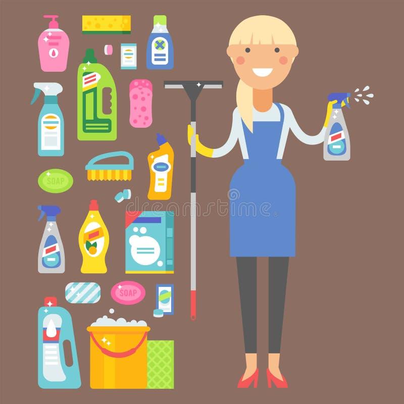Hausarbeitproduktsorgfaltwäscheausrüstungsreinigung der Reinigerfrau flüssige flache Vektorillustration der chemischen vektor abbildung
