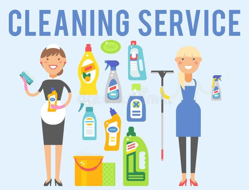 Hausarbeitproduktsorgfaltwäscheausrüstungsreinigung der Reinigerfrau flüssige flache Vektorillustration der chemischen lizenzfreie abbildung
