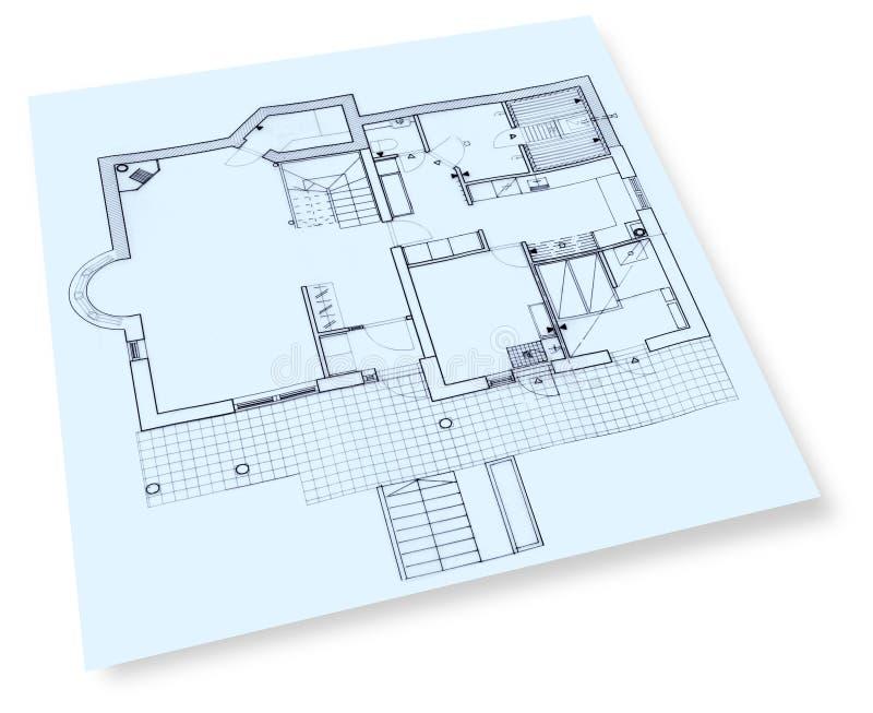 Hausaufbauzeichnungslichtpause stockbilder