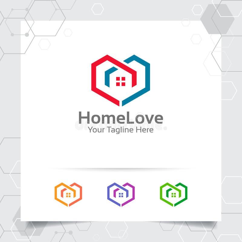 Hausausgangslogo-Konzept des Entwurfes der Liebesherz-Vektorikone Immobilien- und Eigentumslogo für Bau, Auftragnehmer, Architekt stock abbildung