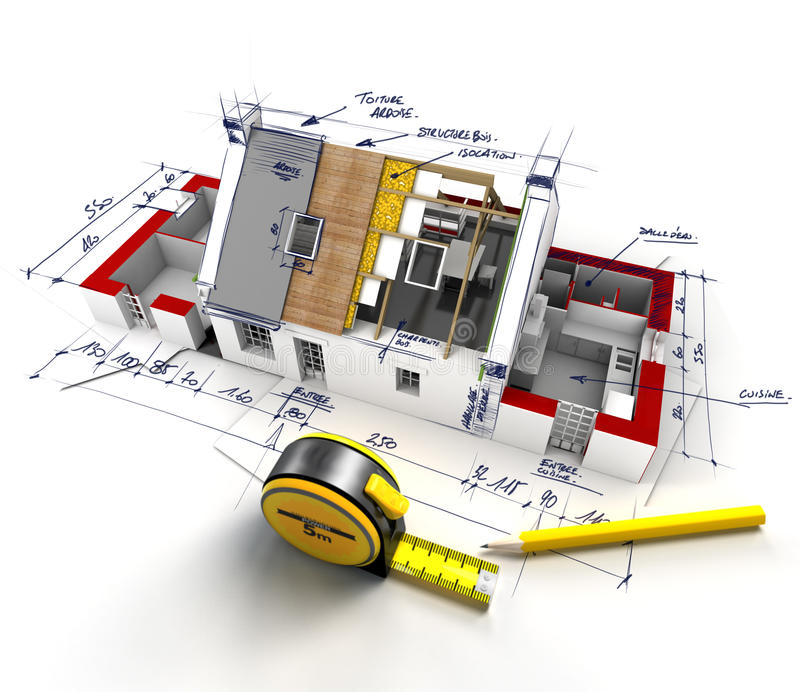 Hausbautechniken lizenzfreie abbildung