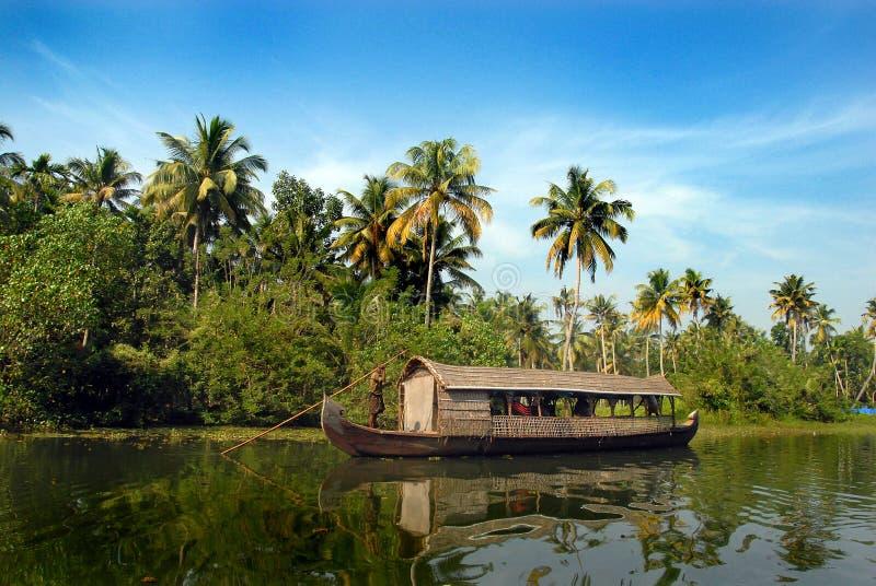 Hausboot in Kerala lizenzfreie stockfotos