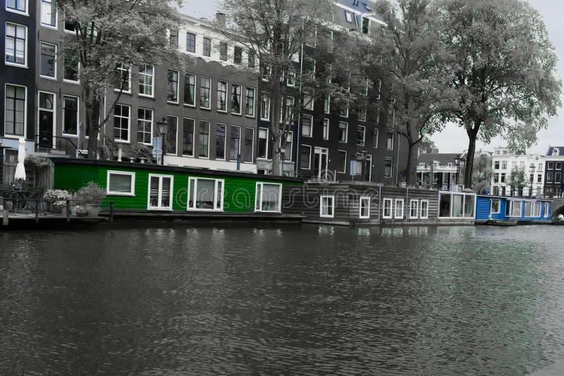 Hausboote im nieuwe prinsengracht Amsterdam stockfoto